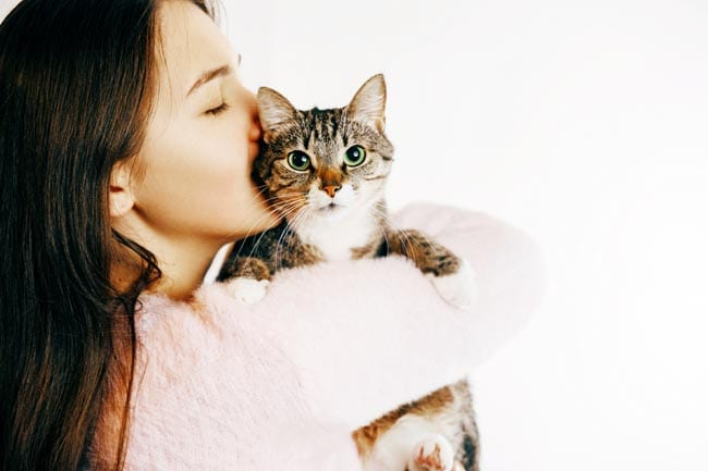 Kissing a cat