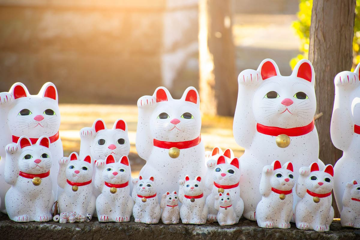 Row of white beckoning cats