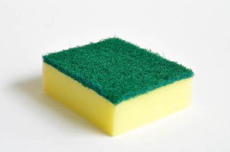 Kitchen sponge with scourer